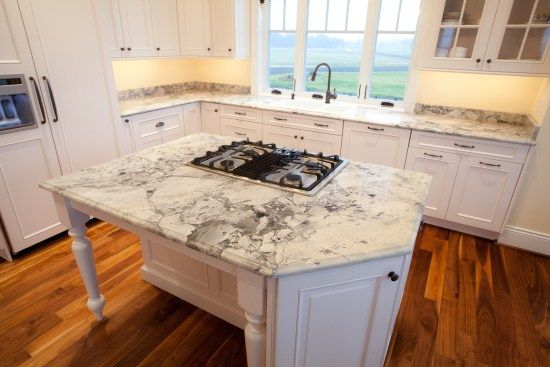 Small Granite Kitchen Countertop Colors With White Cabinets And Wood  Flooring