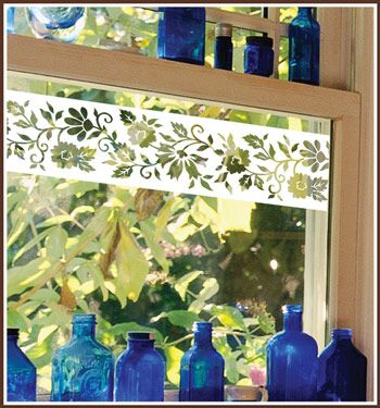 Add a decorative accent to windows,glass doors and mirrors with Naples Border accents