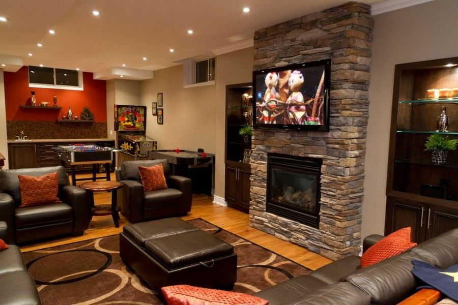 Cozy basement ideas basement family room with brick for Family room design ideas with fireplace