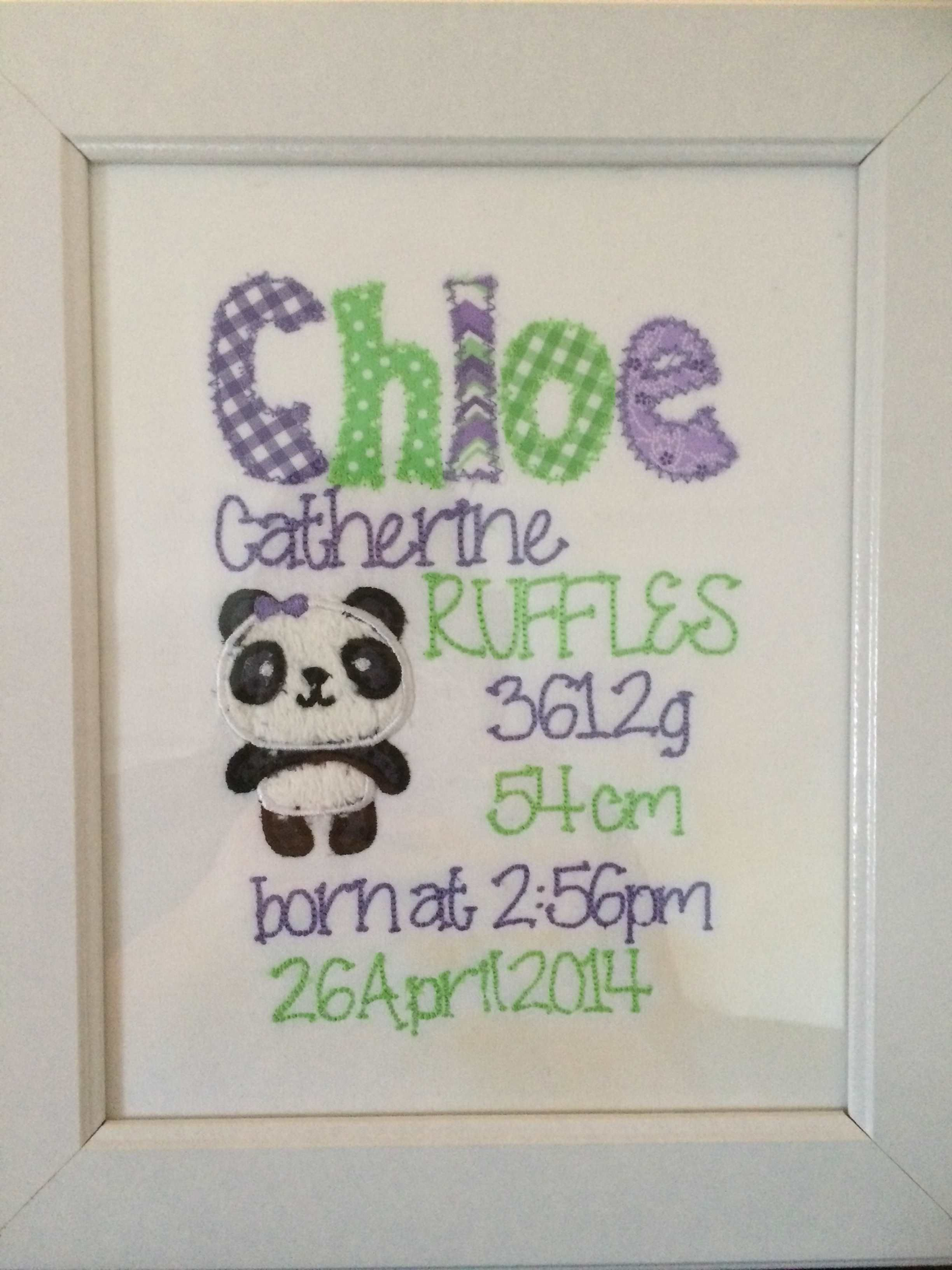 Panda new baby gift framed embroidered birth announcement panda new baby gift framed embroidered birth announcement personalized purple cat embroidery 40 negle Choice Image