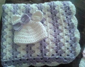 crochet baby blanket gift set with hat