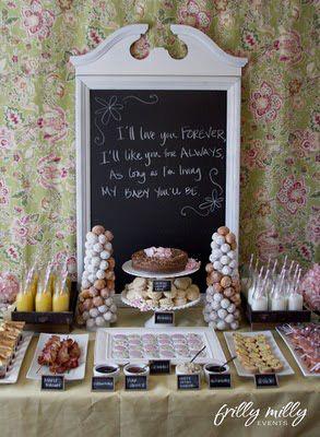 farmhouse breakfast baby shower food table with chalkboard backdrop