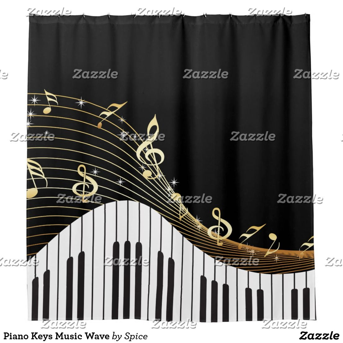 Piano keys music wave shower curtain piano keys