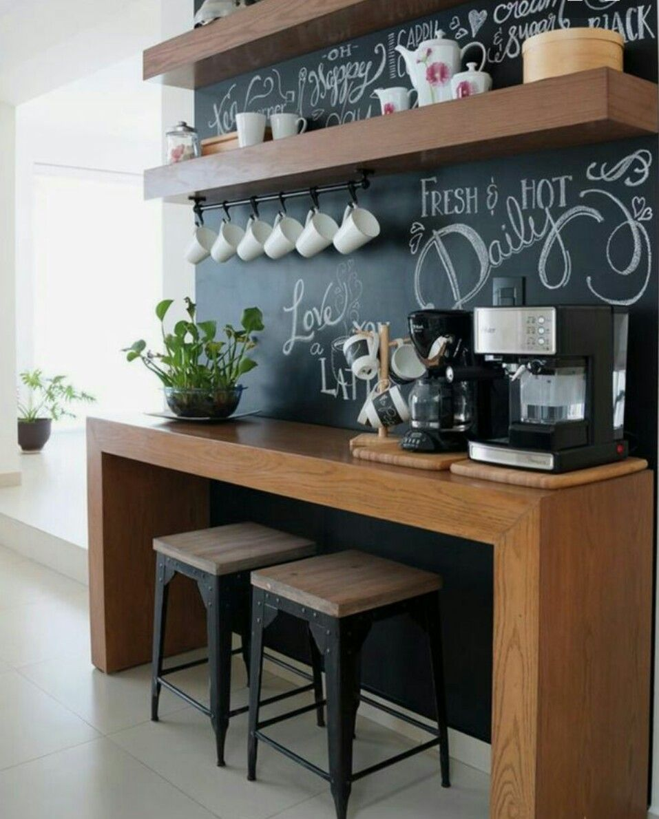 Kitchen Side Wall Breakfast Bar Coffee Bar Home Coffee Bar Design Diy Coffee Bar