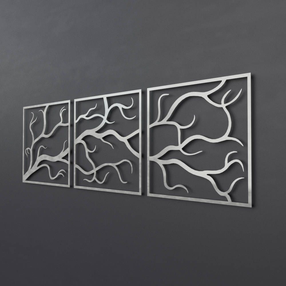 Tree Branches Outdoor Metal Wall Art, 3 Piece Multi Panel ...