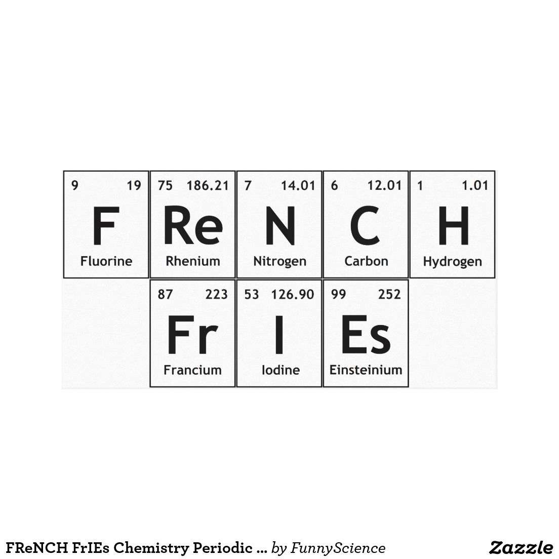 French Fries Chemistry Periodic Table Word Element Stretched Canvas