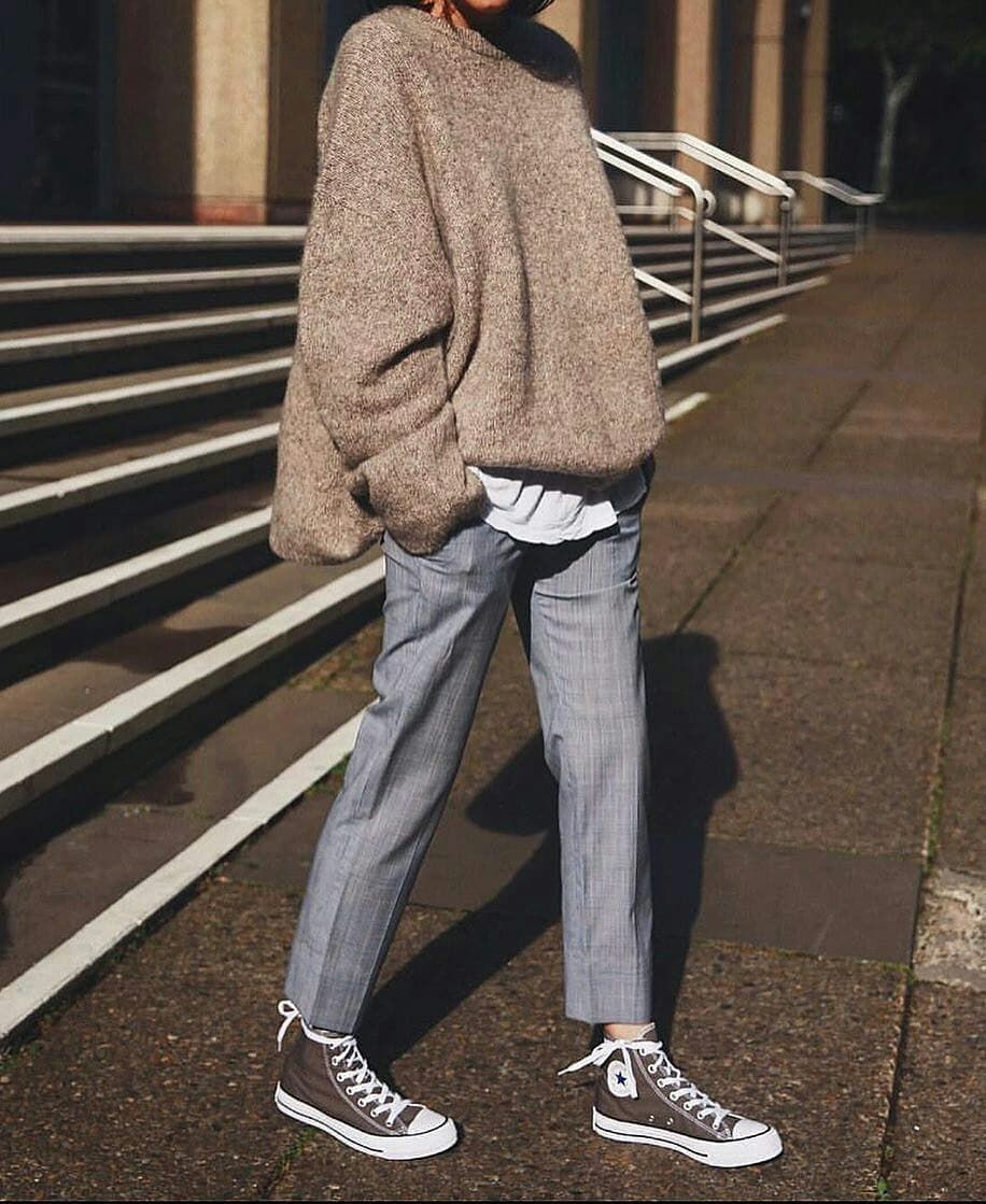"""various colors 1bf46 09cee A Beauty Feature on Instagram  """"Comfy and relaxed ☺ 👌🏼   pepamack     toteme sweater  jilsander pants  converse shoes   Photo via  styleoncue ..."""