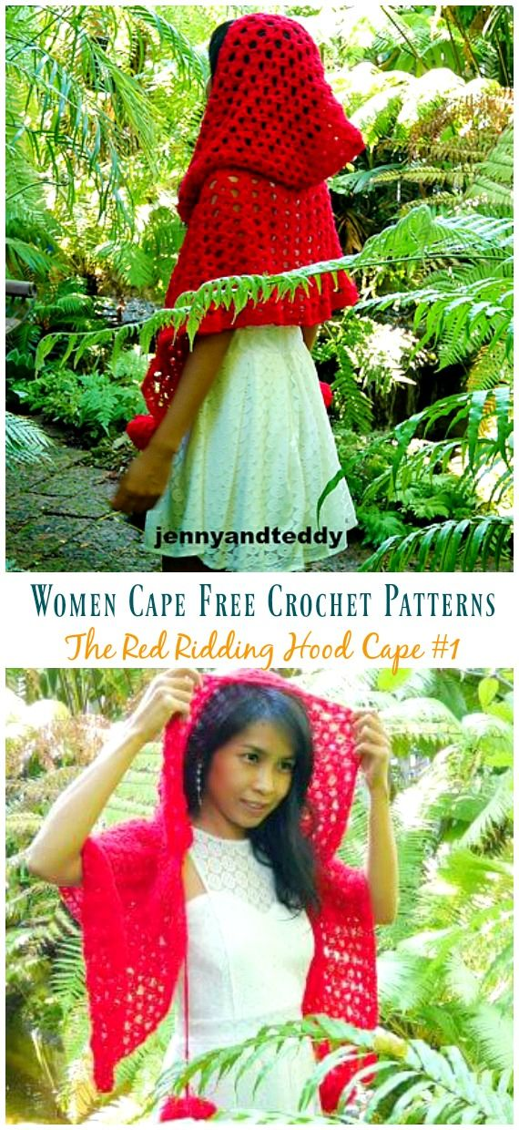 The Red Ridding Hood Cape Crochet Free Pattern is part of Knitting and Crochet Sweater Free Pattern - The Red Ridding Hood Cape Crochet Free Pattern  Women Cape Free Crochet Patterns