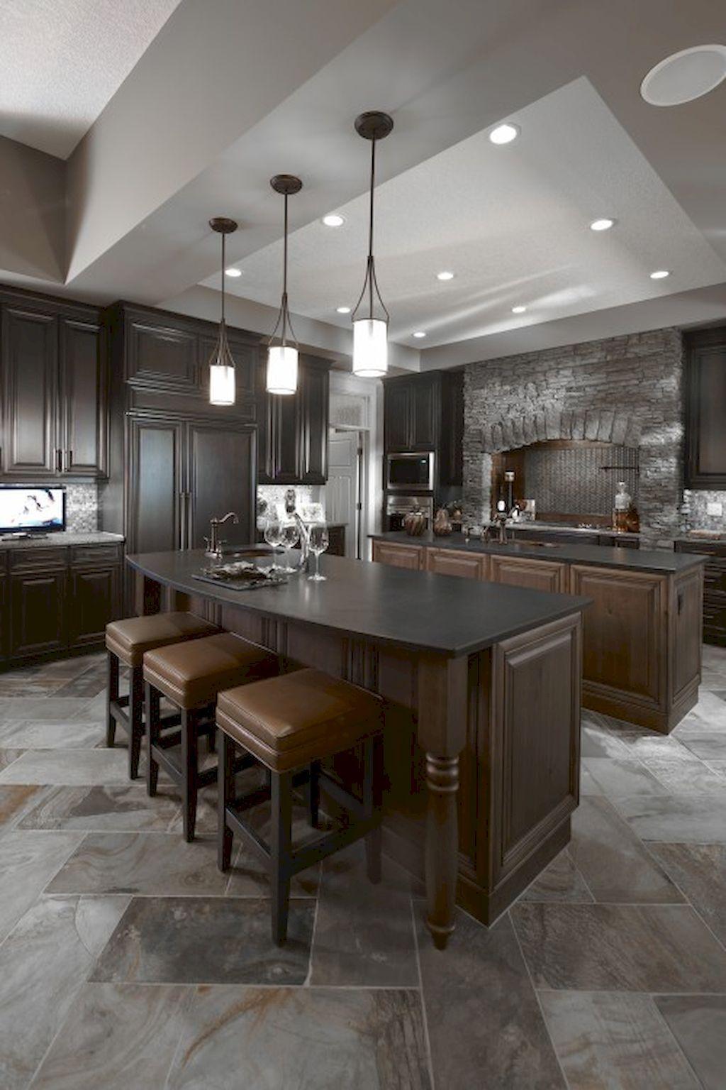 85 Gorgeous Kitchen Backsplash Decor with Dark Cabinets | Cocinas