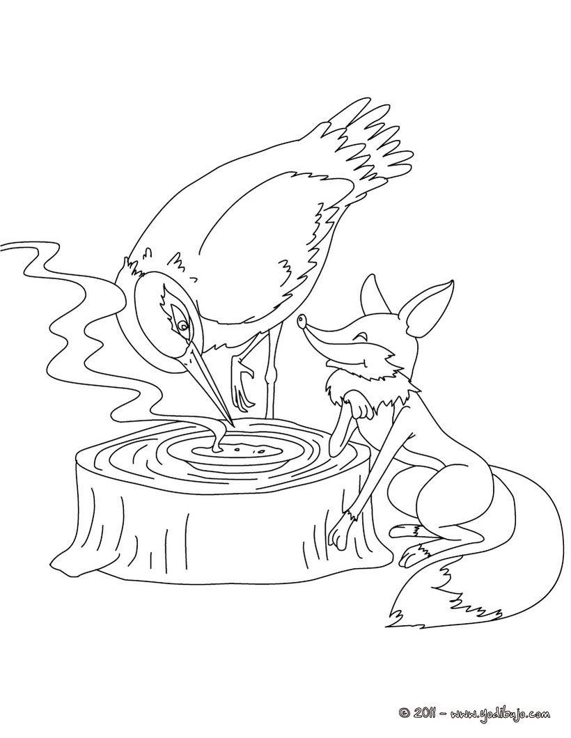 Dibujo para colorear cuento el zorro y la cigue a for Zoro coloring pages