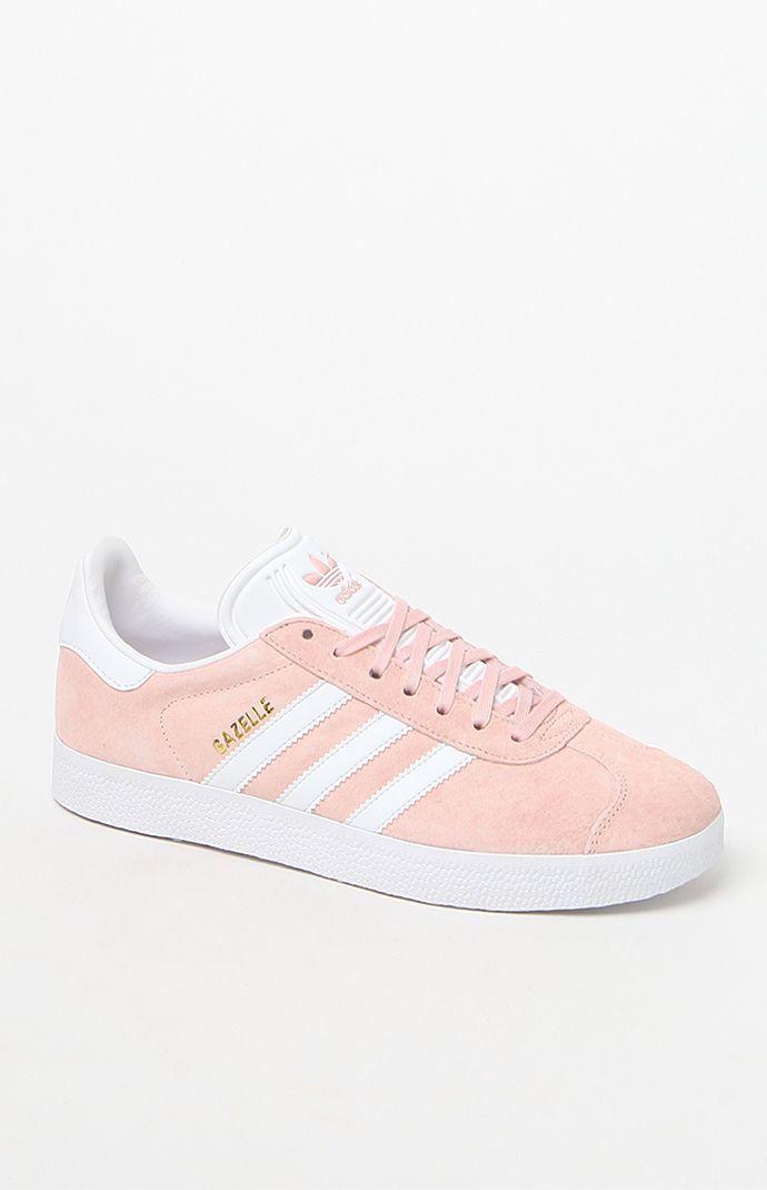 Women 39 S Pink Gazelle Sneakers Pink Gazelles Sneakers Adidas White Shoes