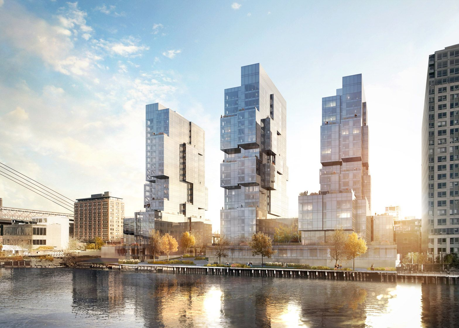 ODA has conceived three glass towers for Brooklyn's waterfront that feature setbacks and protrusions to ensure tenants are afforded expansive views