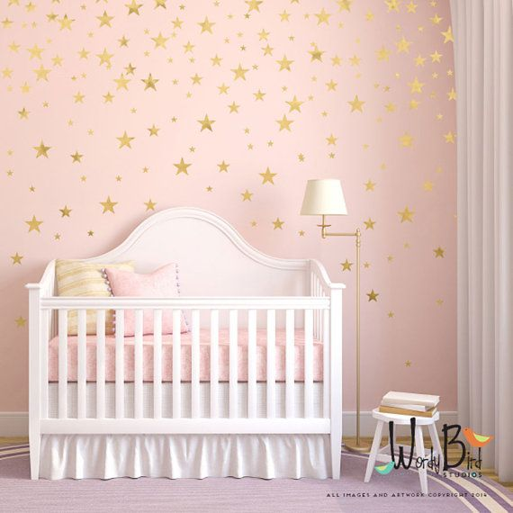Gold Stars Wall Decals Set For Nursery Decor Easy Peel And Etsy Baby Nursery Wall Decor Nursery Wall Decals Girl Girl Nursery Wall