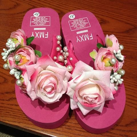 Summer  Rose Floral and Beading Beach Wedges Flip Flops