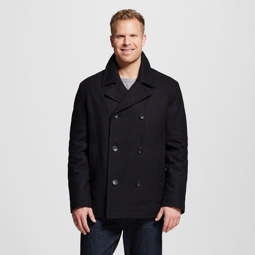 Men's Big & Tall Wool Pea Coat Black Xxl Tall - Merona, Size ...