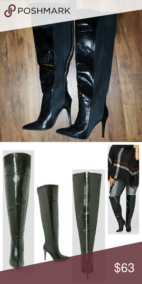 a619c4153d1 Boot, Snake skin, over knee, 12W New. Wide calf over the knee boots ...