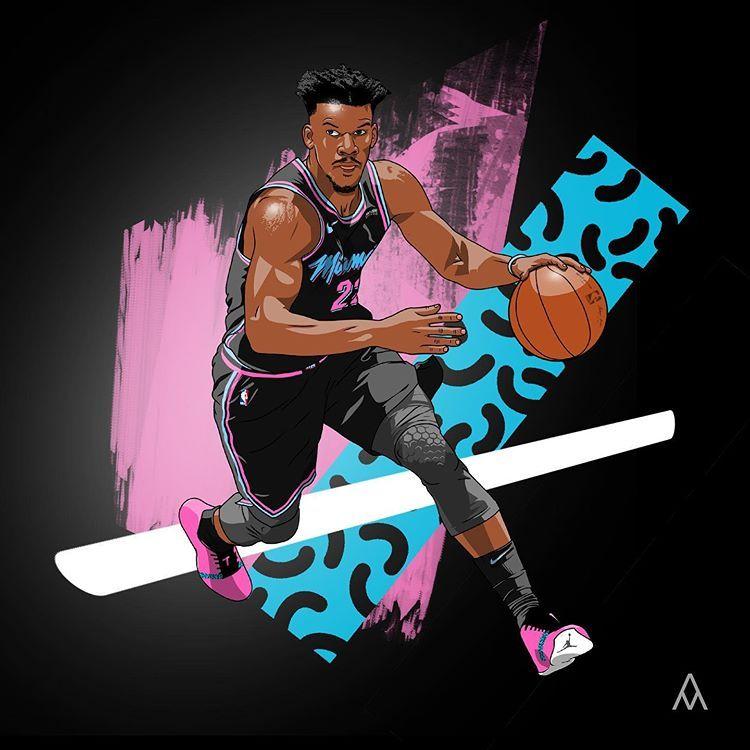 Instagram 上的 Adrien Pmmp Je Continue Cette Revue De La Fa Avec Jimmy Butler Sous Ses Nouvelles Couleurs Du Heat Pa In 2020 Nba Basketball Art Mvp Basketball Nba Art