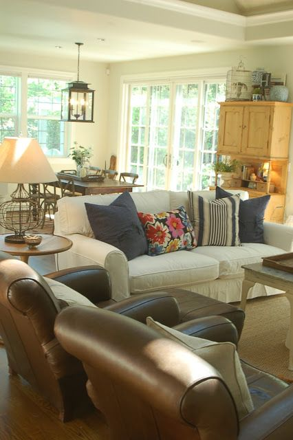 cottage style furniture living room with brown sofa | slipcovered sofa (by Lee) and brown leather chairs ...
