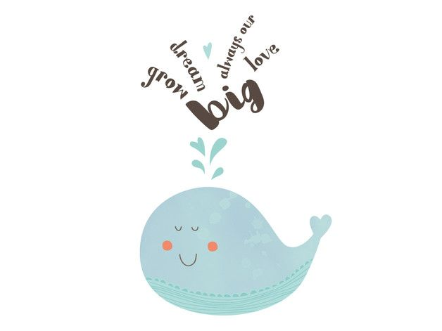 Printable A4 für das Kinderzimmer, Wal zum Ausdrucken / cute