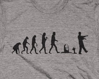 Funny Zombie Shirt Tshirt T-shirt Tee Evolution T Gift Idea for Husband Girlfriend Dad Uncle Brother Friend Ladies Mens Womens Apocalypse
