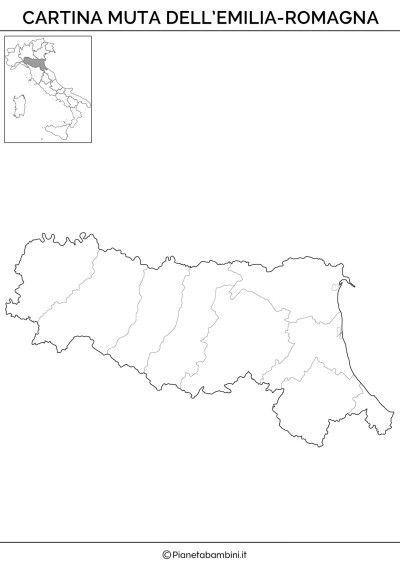 Cartina Muta Fisica E Politica Dellemilia Romagna Da Stampare