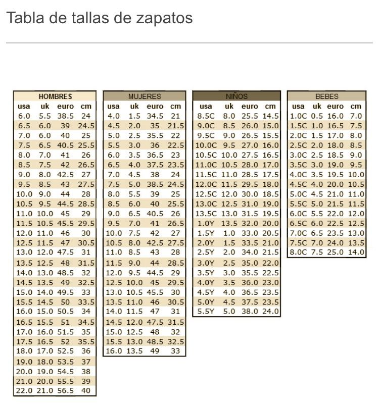a9514852 Tallas de Zapatos • Shoe sizes conversion | Clothes | Tallas de ...