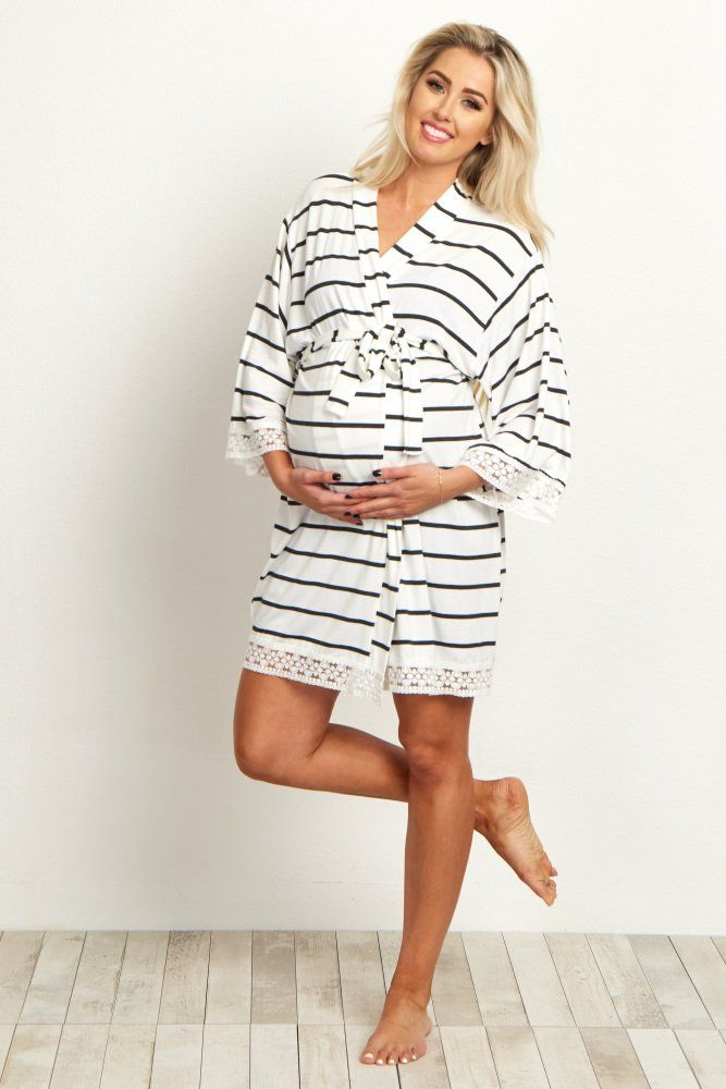 White Striped Lace Trim Delivery/Nursing Maternity Robe | Lace trim ...