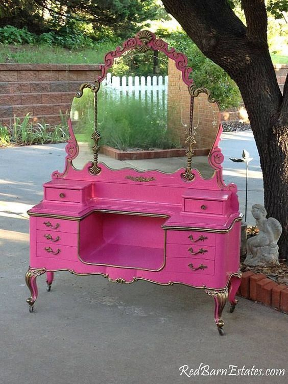 Photo of MAKEUP VANITY For Custom Order Shabby Chic Painted Distressed Restored Antique Furniture BREATHTAKING!