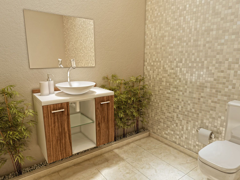 Gabinete para Banheiro com Cuba e Espelho 3 Peças 2 Portas  VTec Terra  Arm -> Armario De Banheiro Mobly
