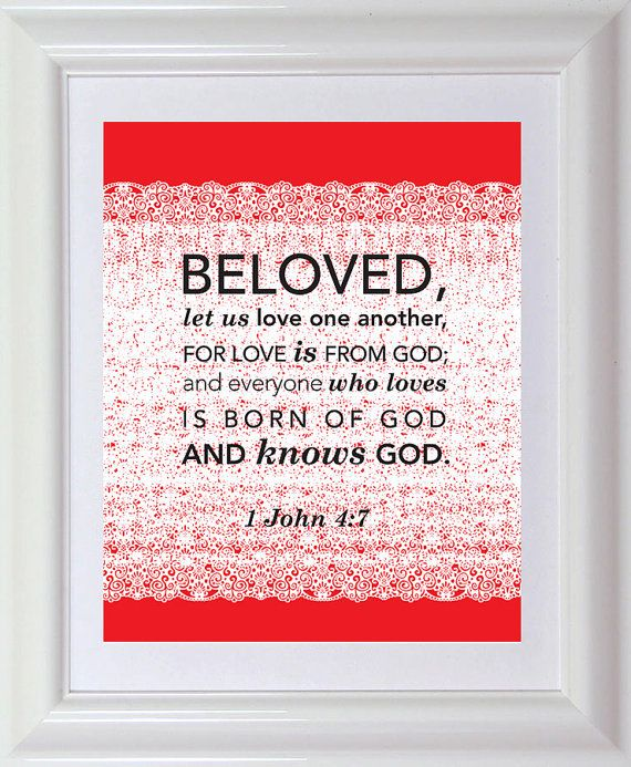 valentine scripture art print 8x10 bible verse by designloveshare 1299 1 john 47 - Bible Verse For Valentines Day