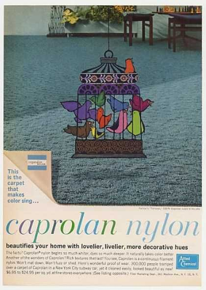 Allied Chemical Caprolan Nylon Carpet Bird Cage (1962)