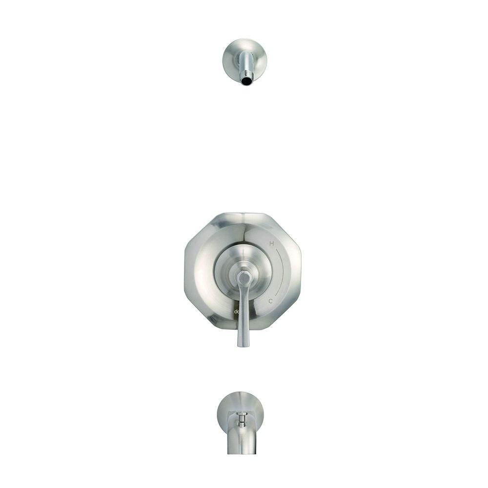 Photo of Danze Draper 1H bath and shower covering set & Treysta cartridge Less shower head brushed nickel, gray