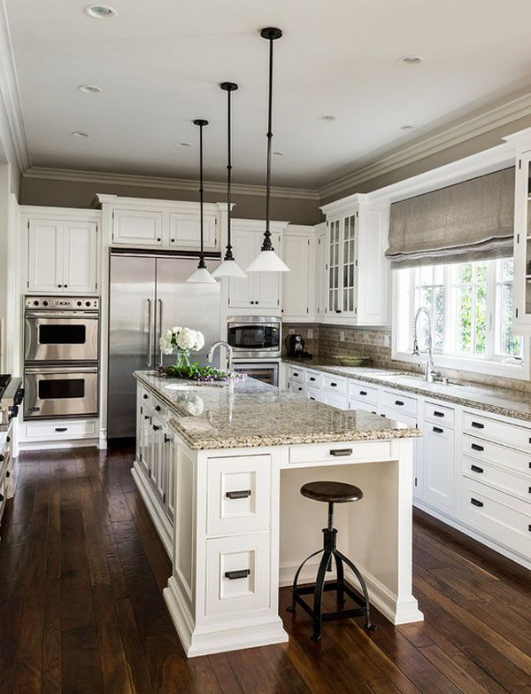 65 Extraordinary Traditional Style Kitchen Designs  Love The White Cabinets  With Light Grey Subway Tile Backsplash (and Darker Island).