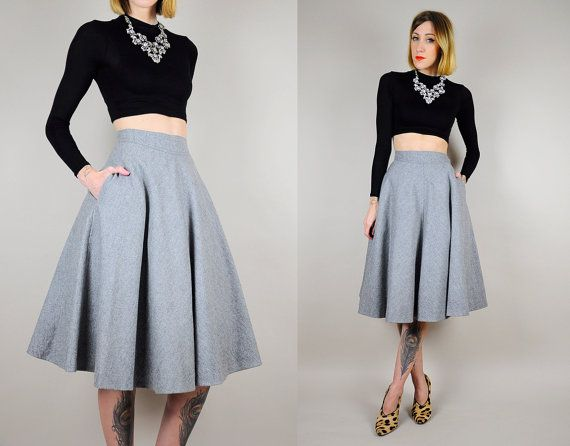 1960's WOOL gray high waist Full Circle SKIRT bombshell swing ...