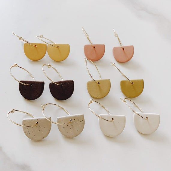 Photo of Small Hoop Earrings with Charm  Dainty hoop Earrings    Etsy