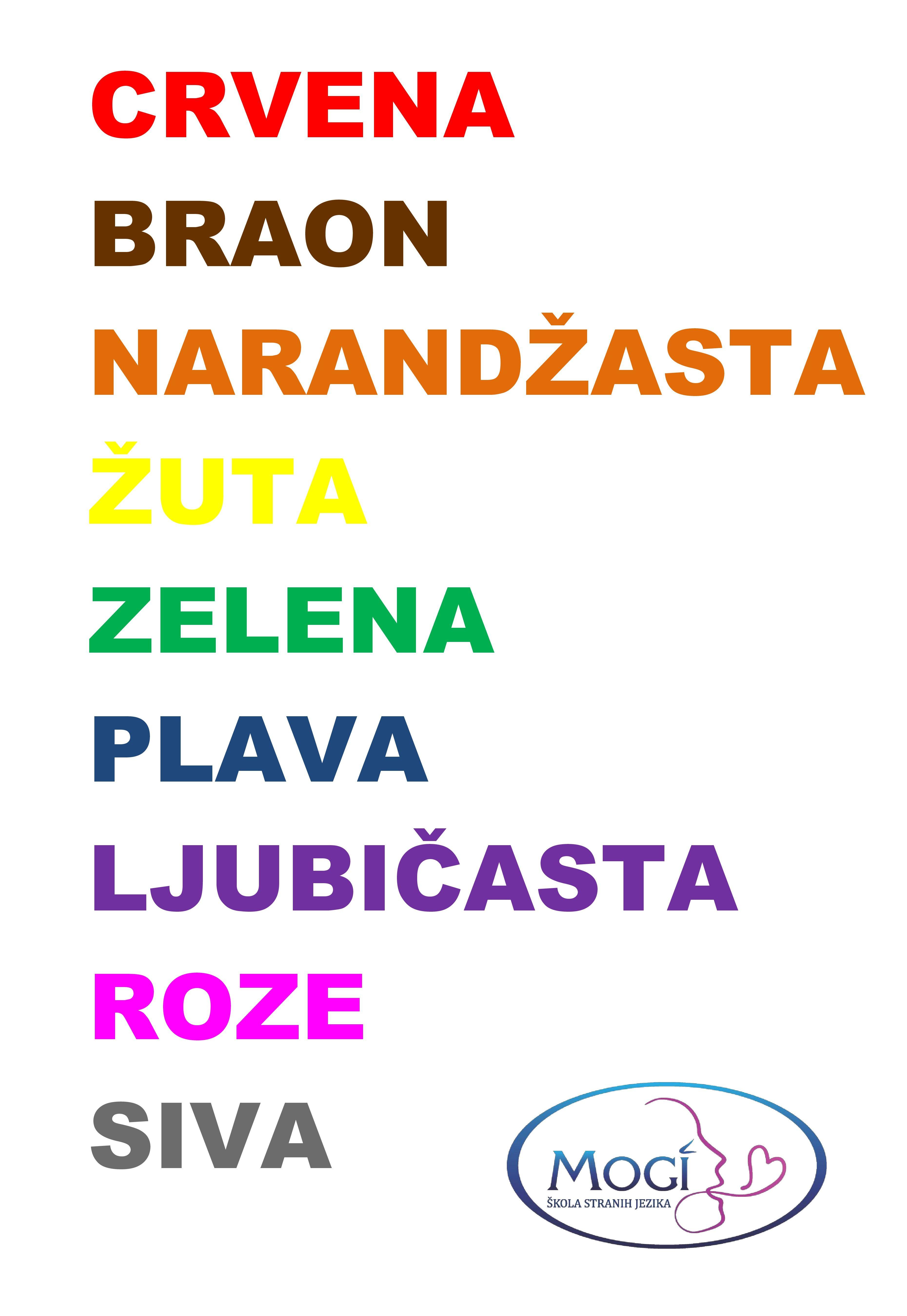 Colors In Serbian Language Serbianlanguageforforeigners
