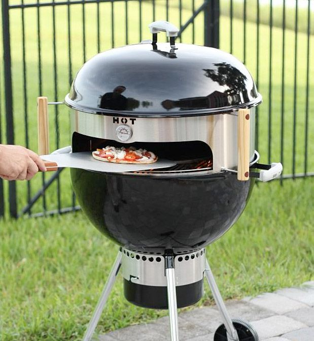 KettlePizza Turns an Ordinary Kettle Grill into an Outdoor Oven.