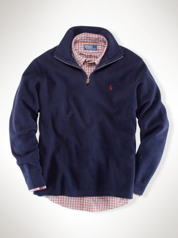 Ralph Lauren French Rib Fleece Half Zip. Classic pullover is