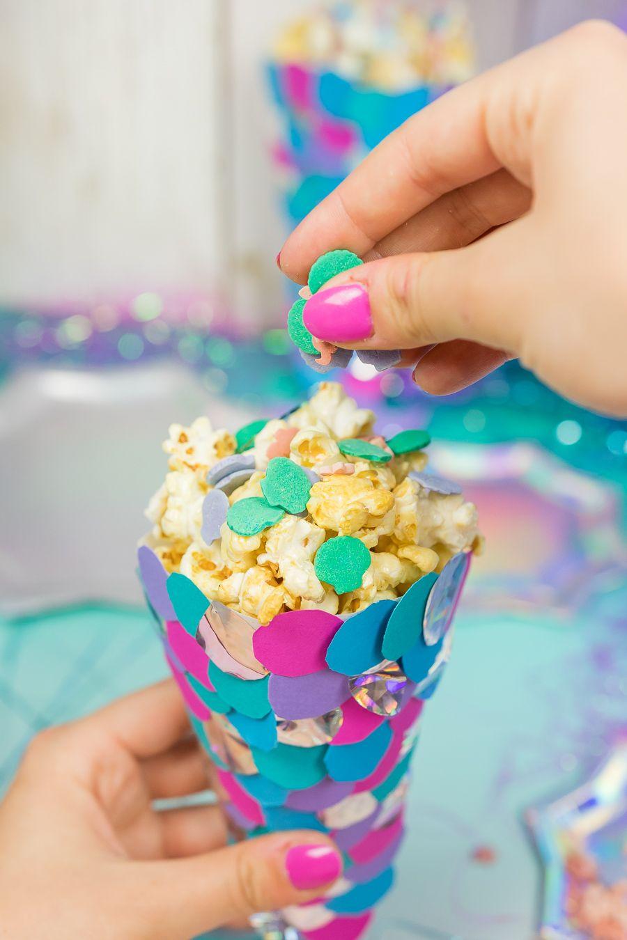 meerjungfrauen party diy ideen popcornt ten selber machen diy basteln selbermachen. Black Bedroom Furniture Sets. Home Design Ideas