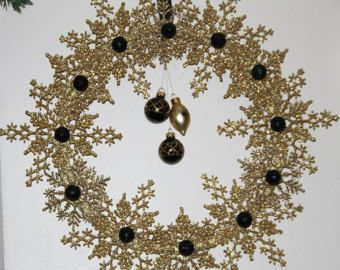 Christmas Peacock Wreath Snowflake Wreath by GlitterGlassAndSass