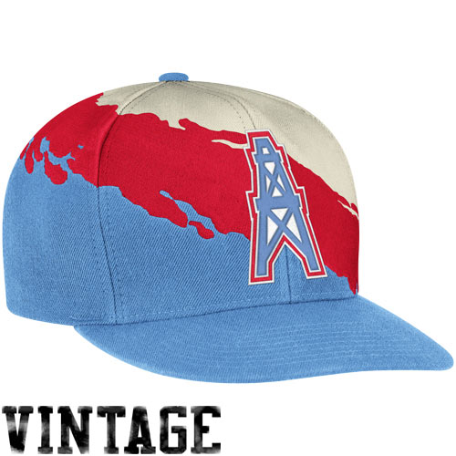44a9ffbfd Mitchell & Ness Houston Oilers Paintbrush Snapback Hat - Light Blue ...