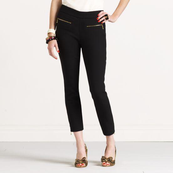 Black wool-blend pant.