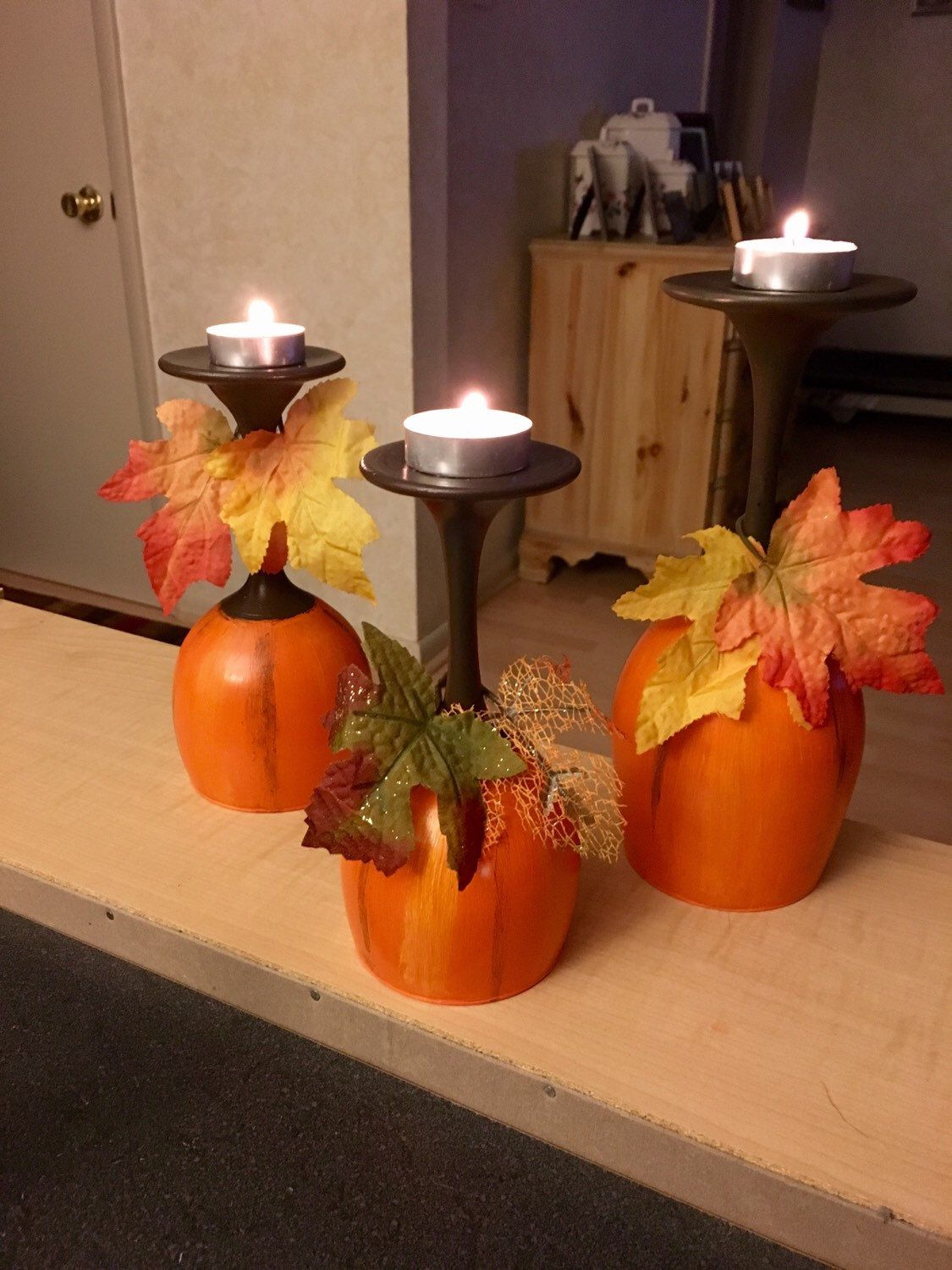 pumpkin candle holders wine glasses by devonswinedesigns on favorite diy fall decorating ideas add life to your home id=52150