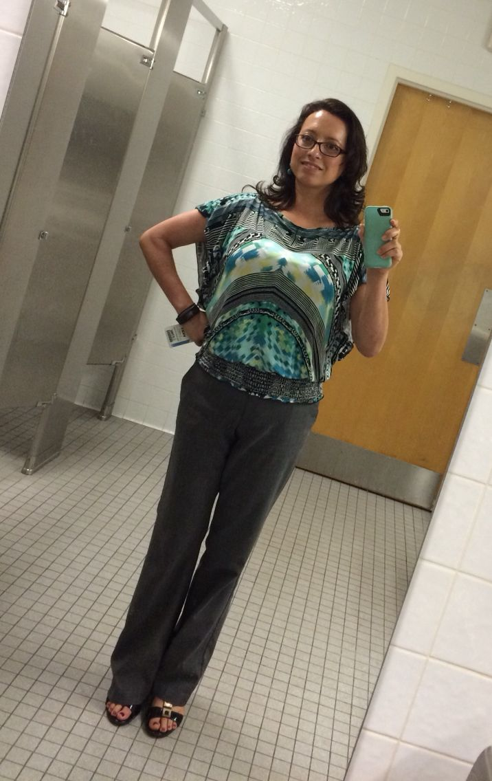 #mystyle Gray Pants and Pattern Blouse for the #office