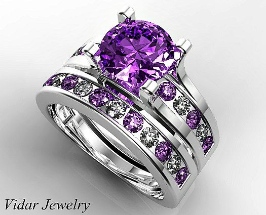 Amethyst Wedding Ring Set Unique Wedding Ring Set Purple Amethyst