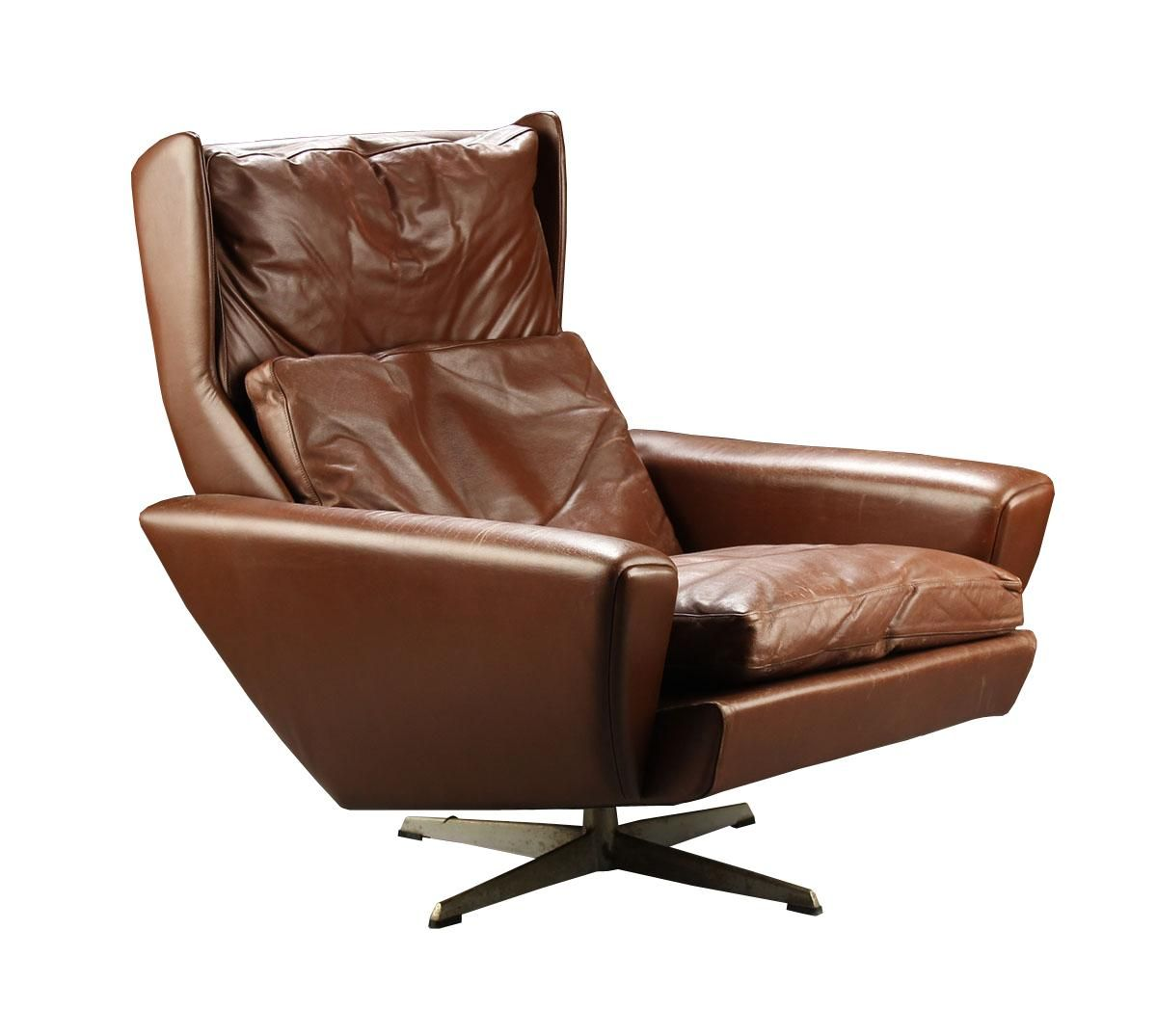 Superieur Brown Leather Wingback Swivel Chair By Georg Thams For Polstermøbelfabrik 1