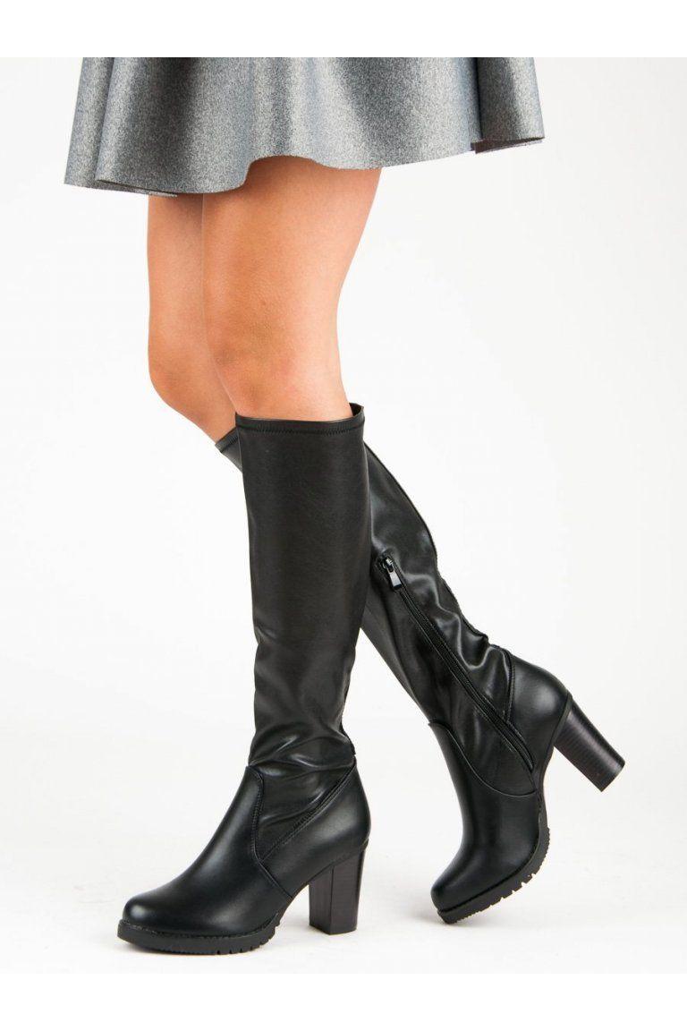 Čierne kozačky čižmy pod koleno VINCEZA  825e7232b94