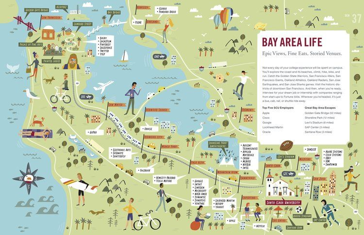 Illustrated Map Of The Bay Area Nate Padavick Artist