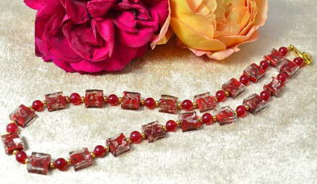 Red Agate & Murano Glass Necklace £41.20