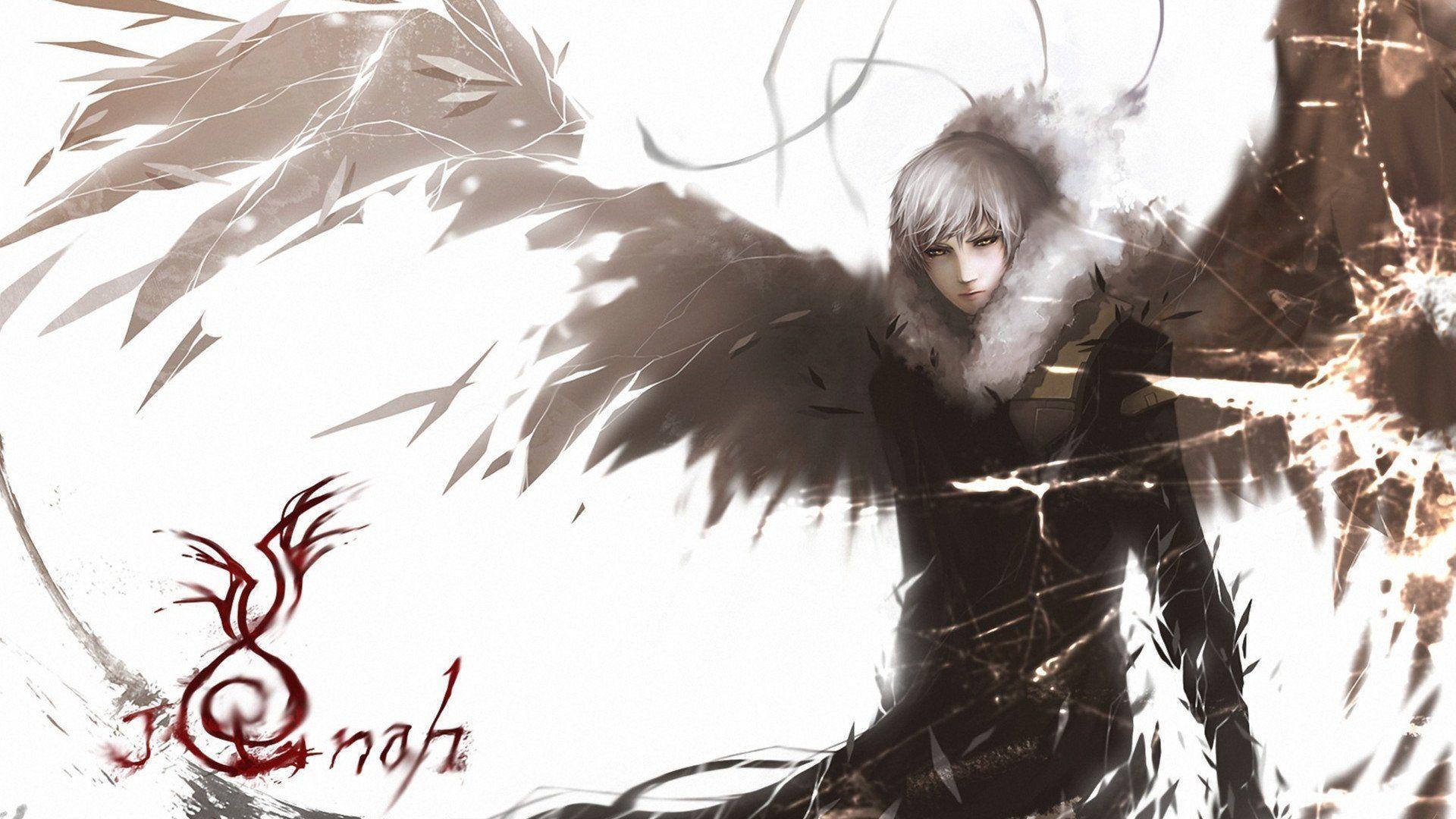 Anime Original Anime Angel Hoodie White Hair Bleached Eyes